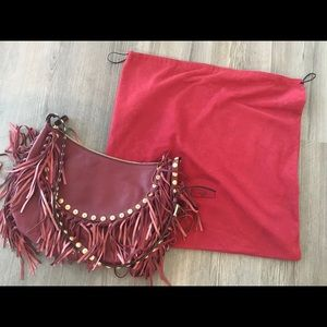 valentino c-rockee studded fringe hobo bag, red